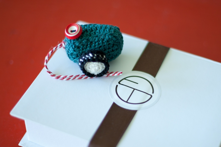 crocheted camera photography packaging